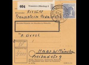 BiZone Paketkarte 1948: Traunstein nach Haar