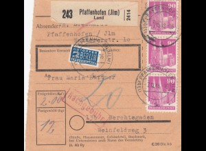 BiZone Paketkarte 1948: Pfaffenhofen n. Berchtesgaden, Notopfer, Nachgebühr