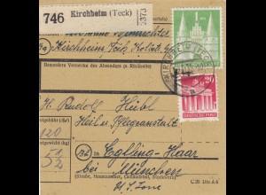 BiZone Paketkarte 1948: Kirchheim Teck nach Eglfing-Haar, Heilanstalt