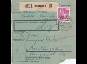 BiZone Paketkarte 1948: Krefeld nach Berchtesgaden, Nachgebühr, besonderes Form.