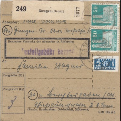 BiZone Paketkarte 1948: Giengen nach Berchtesgaden, Notopfer