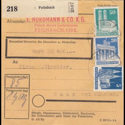 BiZone Paketkarte 1948: Feilnbach, Lederwaren nach Haar, Wertkarte