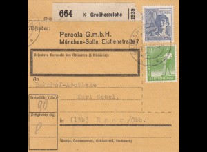 BiZone Paketkarte 1948: Großhesselohe nach Haar, Selbstbucher, Bahnhof-Apotheke