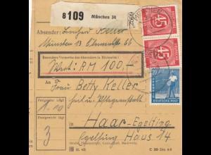BiZone Paketkarte 1948: München nach Haar, Wertkarte