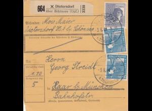 BiZone Paketkarte 1948: Dietersdorf Schönsee nach Haar bei München
