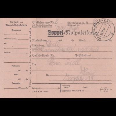 BiZone Paketkarte 1947: Doppel-Notpaketkarte, Gaimersheim nach Haar