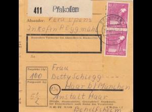 BiZone Paketkarte 1948: Pfakofen Inkofen nach Haar, Anstalt