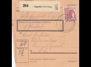BiZone Paketkarte 1948: Eggstätt nach Anstalt Haar