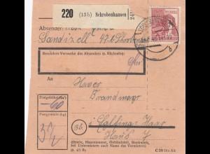 BiZone Paketkarte 1948: Sandizell Schrobenhausen nach Eglfing