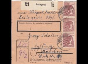 BiZone Paketkarte 1948: Beilngries nach Eglfing