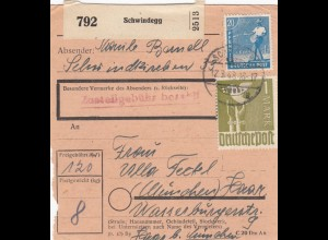 BiZone Paketkarte 1948: Schwindegg nach München Haar