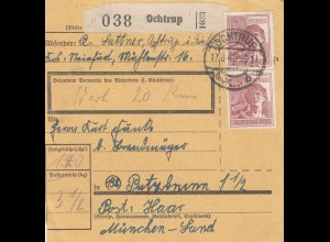BiZone Paketkarte 1948: Ochtrup nach Putzbrunn, Wertkarte