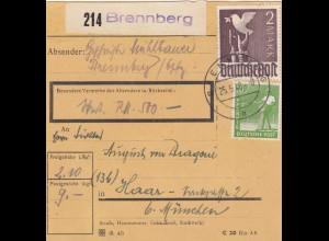 BiZone Paketkarte 1948: Brennberg nach Haar, Wertkarte