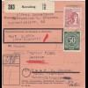 BiZone Paketkarte 1948: Herrsching nach Haar, Kath. Pfarramt, Wertkarte