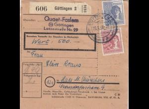BiZone Paketkarte 1948: Göttingen nach Haar, Wertkarte