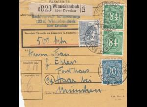 BiZone Paketkarte 1947: Rechtsanwalt, Winnekendonk nach Haar, Wertkarte