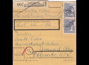 BiZone Paketkarte 1947: Lichtenberg nach Gmund, Wertkarte