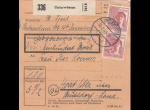 BiZone Paketkarte 1948: Unterwössen nach Hart über Mühldorf, Wertkarte