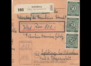 BiZone Paketkarte 1947: Schlossberg bei Rosenheim n. Eglfing, Wertkarte