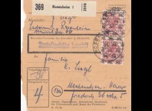 BiZone Paketkarte 1948: Rosenheim 1 nach München-Haar