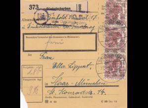 BiZone Paketkarte 1948: Dinkelscherben nach Haar in München