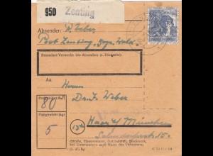 BiZone Paketkarte 1948: Zenting nach Haar in München