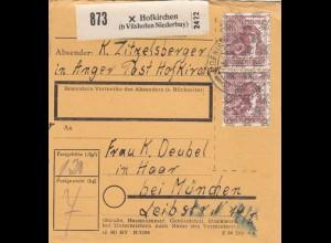 BiZone Paketkarte 1948: Hofkirchen nach Haar
