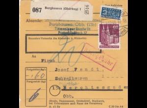 BiZone Paketkarte 1948: Burghausen nach Berchtesgaden, Nachgebühr, Notopfer