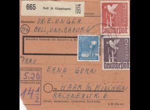 BiZone Paketkarte 1948: Boll bei Göppingen nach Haar
