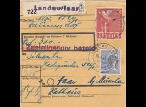 BiZone Paketkarte 1948: Haunersdorf Landau nach Haar, Wertkarte