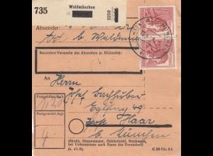 BiZone Paketkarte 1948: Waldmünchen nach Haar