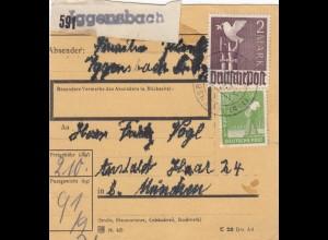 BiZone Paketkarte 1948: Iggensbach nach Anstalt Haar, München