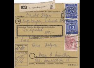 BiZone Paketkarte 1948: Stuttgart Feuerbach nach Haar, Wertpaket