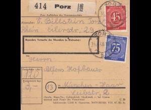 BiZone Paketkarte 1948: Porz nach Haar bei München