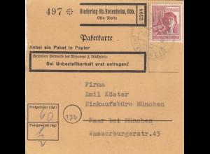 BiZone Paketkarte 1947: Riedering nach Haar, Selbstbucher