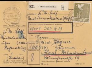 BiZone Paketkarte 1948: Michelsneukirchen, Wertkarte, mit Notpaketkarte