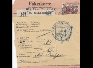 Paketkarte 1948 München Passing n. Brettbrunn, Wertkarte, Nachnahme, Rücksendung