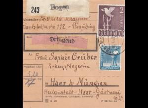 BiZone Paketkarte 1948: Straubing Bogen nach Haar, Dringend