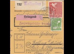 BiZone Paketkarte 1948: Kallmünz nach Eglfing, Anstalt, Dringend