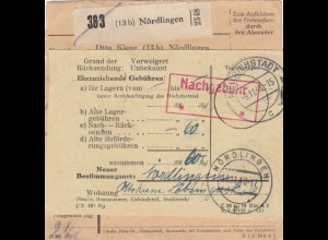 Paketkarte 1948: Nördlingen n. Mellrichstadt, Nachnahme, Rücksendung, Nachgeb.