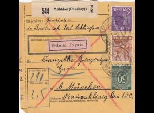 BiZone Paketkarte 1948: Breitenbach n. Frauenklinik München, Eilbote, Exprès