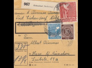 BiZone Paketkarte 1947: Eichendorf nach Haar
