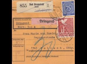 BiZone Paketkarte 1948: Bad Bramstedt n. Pullach, Nachgebühr, Dring., Wertkarte