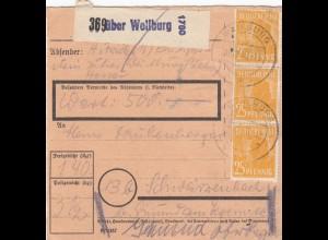 BiZone Paketkarte 1948: Weilburg nach Schwarzenbach, Wertkarte