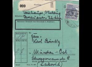BiZone Paketkarte 1948: Plattling nach München-Ost, besonderes Formular