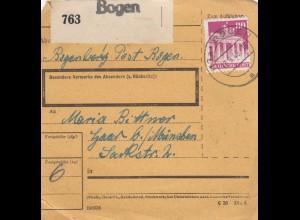 BiZone Paketkarte 1948: Bogenberg nach Haar bei München