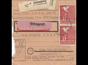 BiZone Paketkarte 1948: Niedergandern über Göttingen nach Haar, Dringend