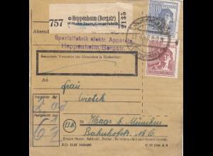 BiZone Paketkarte 1948: Elektrische Apparate Heppenheim nach Haar