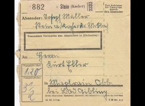 BiZone Paketkarte 1947: Stein nach Bad Aibling Beyharting
