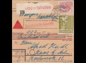 BiZone Paketkarte 1948: Oppertshofen nach Haar, Nachnahme